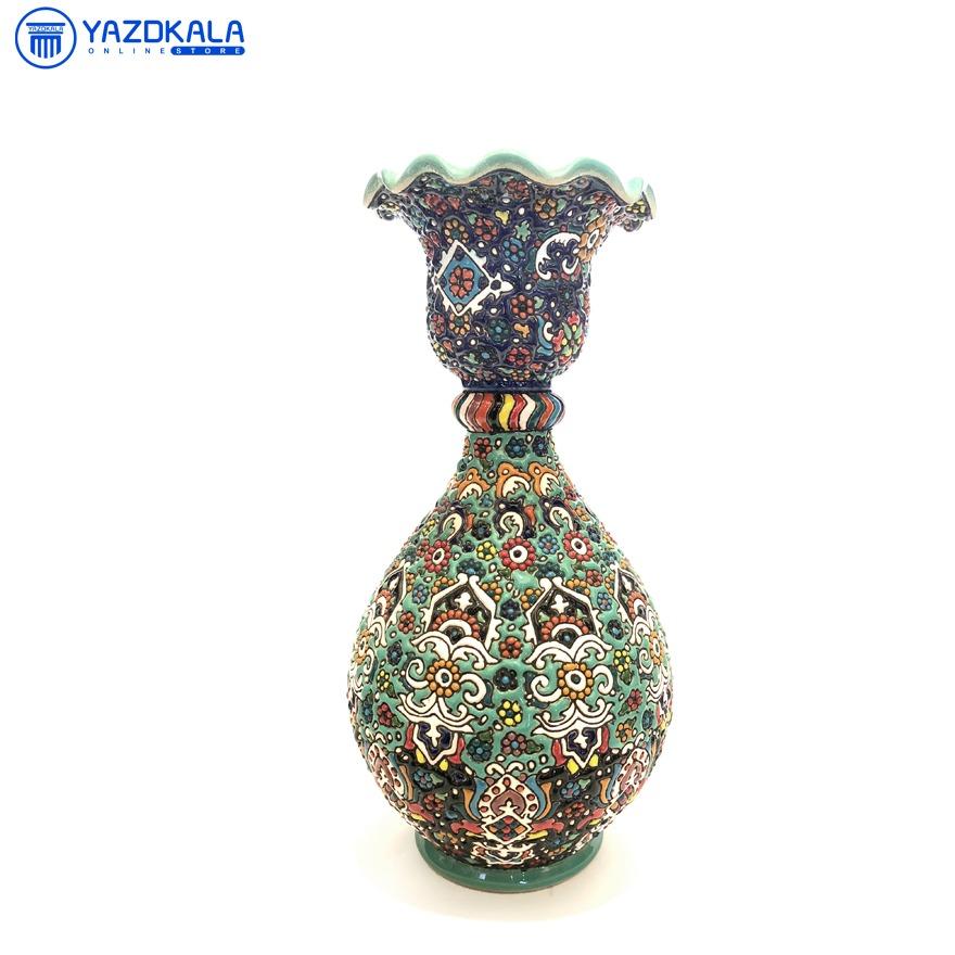 گلدان خمره ای  سفالی میناکاری شده کد 1152