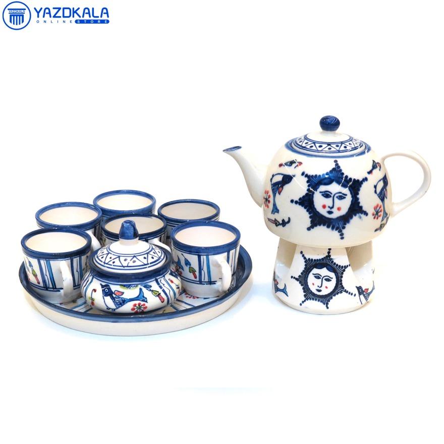 سرویس چایی خوری سفالی طرح خورشید