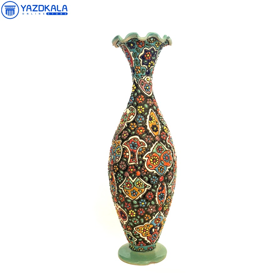 گلدان سفالی میناکاری شده کد 1146