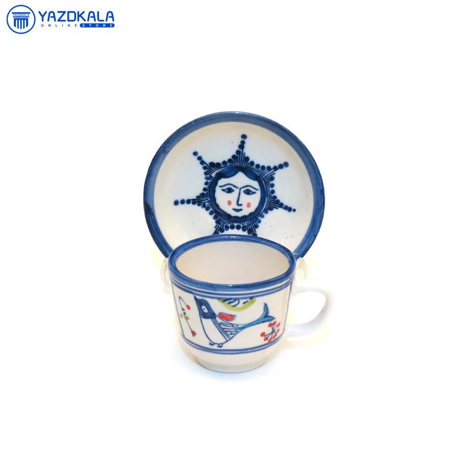 فنجان نعلبکی سفالی طرح خورشید