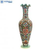گلدان سفالی میناکاری شده  کد 1214