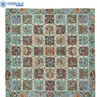 رومیزی ترمه نفیس طرح خشتی سبز آبی