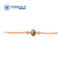 دستبند مسی  با سنگ لوتوس دار عقيق سليمان